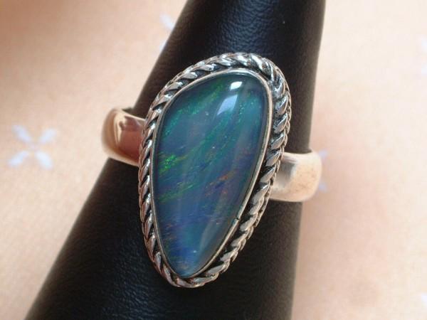 Exclusiver Opal Ring - 21 x 13 mm - tolle Farben - Sterling Silber - 925 - Größe 57