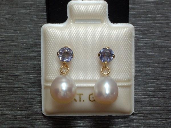 Exclusive Iolith & Perlen Ohrstecker - 14 Kt. Gold - 585 - Ohrringe - sehr edel !