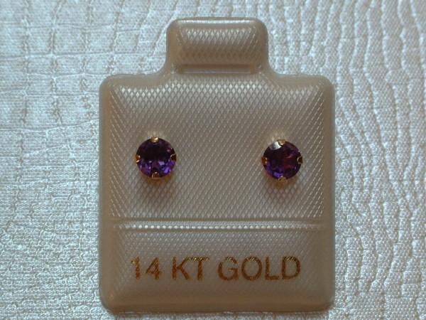 Exclusive Amethyst Ohrstecker - 4 mm - 14 Kt. Gold - 585 - Ohrringe Brillant Schliff