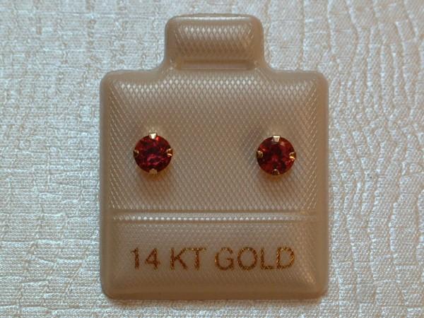 Exclusive Granat Ohrstecker - 4 mm - 14 Kt. Gold - 585 - Ohrringe - Brillant Schliff