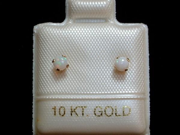 Feinste Opal Ohrstecker - 3 mm - 14 Kt Gold - 585 - Ohrringe in Cabochon Schliff