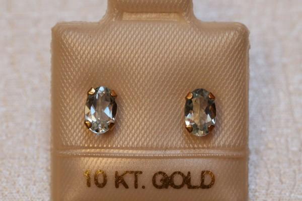 TOP Aquamarin Ohrstecker - 6 x 4 mm - 10 Kt Gold - 417 - Ohrringe - Oval Schliff