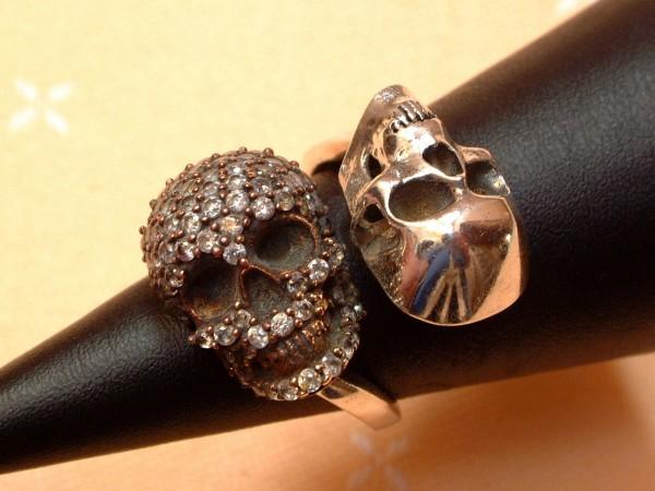 Designer Totenkopf Ring - Kristallbesatz - Sterling Silber - 925 - Skull Gothic