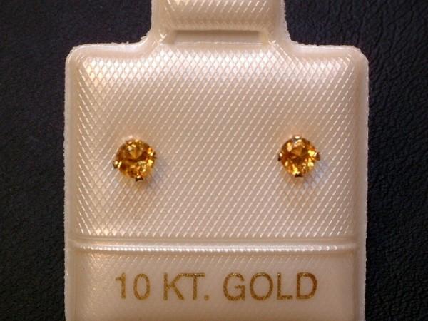 Feinste Citrin Ohrstecker - 3 mm - 10 Kt. Gold - 417 - Ohrringe - Brillantschliff