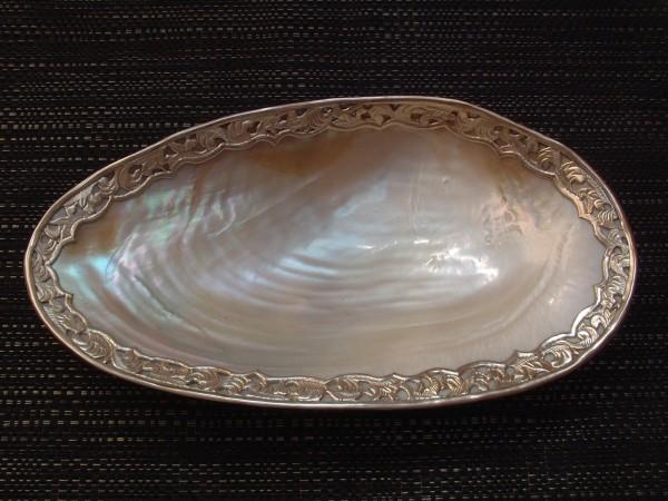 Exclusive Kaviarschale - Perlmutt & Silber - MOP - 28,5 x 15,5 cm - Prunkschale ! - Modell 29
