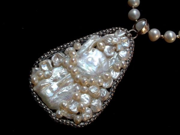 Exclusive Perlenkette mit imposantem Anhänger - 53,5 cm - Sterling Silber - 925 -