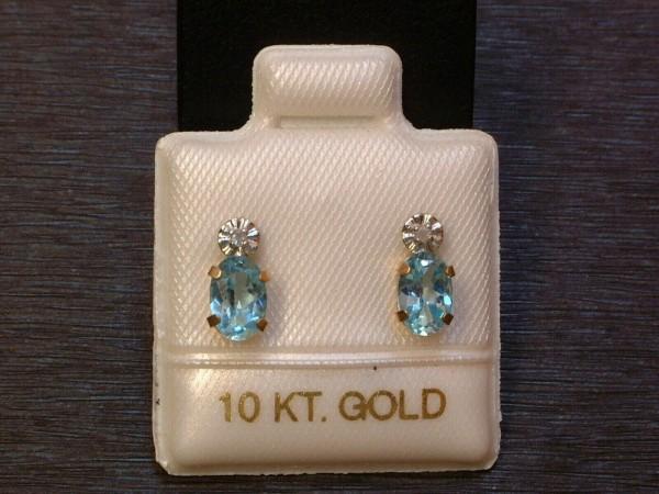 Blautopas & Diamant Ohrstecker - 6 x 4 mm - 10 Kt. Gold 417 - Ohrringe - Oval Schliff