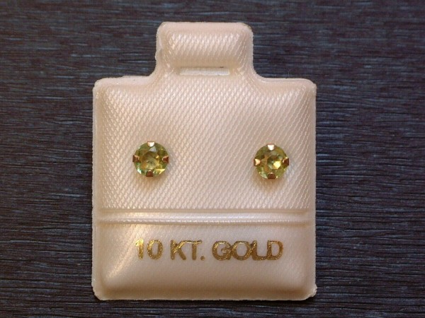 Feinste Peridot Ohrstecker - 4 mm - 10 Kt. Gold - 417 - Ohrringe - Brillant Schliff