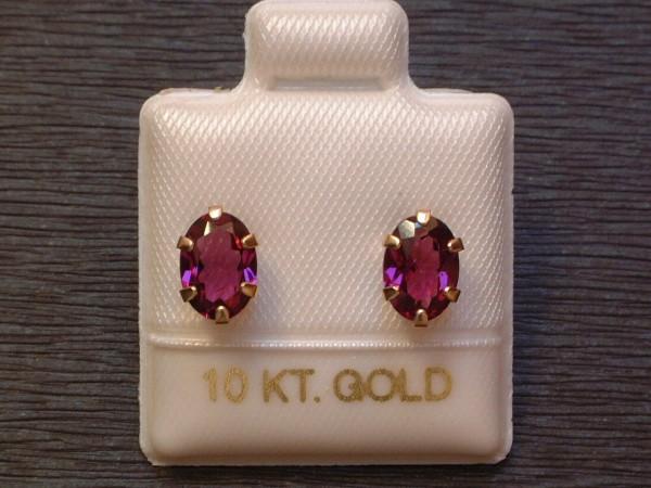 Feinste Rhodolith Granat Ohrstecker - 7 x 5 mm - 10 Kt. Gold - 417 - Ovalschliff