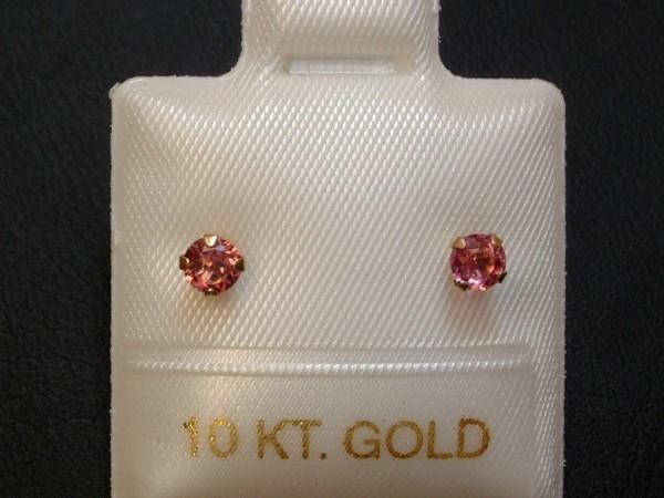 Rosa Turmalin Ohrstecker - intensiv - 3 mm - 10 Kt. Gold - 417 - Brillantschliff