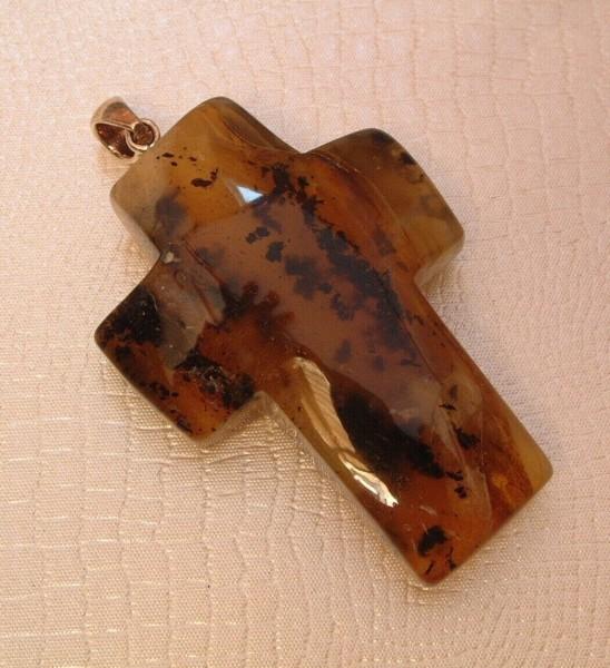 Exclusives Bernstein - Kreuz - 52 x 38 mm - Amber Anhänger - Oese Silber - 925 -