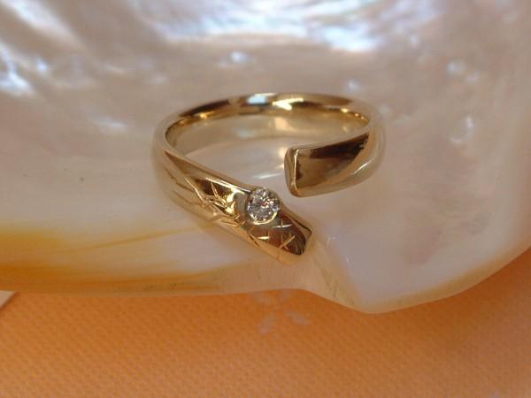 Exclusiver Brillant Ring - Solitär - 0,09 ct. - 14 Kt. Gold - 585 - second hand - TOP