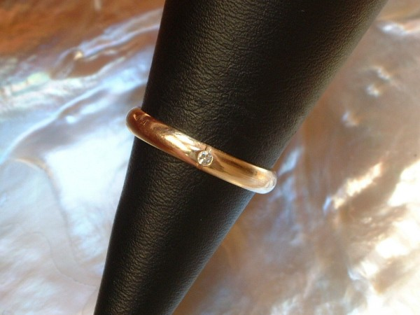 Exclusiver Damen Ring mit Brillant - 0,02 ct. TW VSI - 14 Kt. Gold - 585 - second hand - Gr 52
