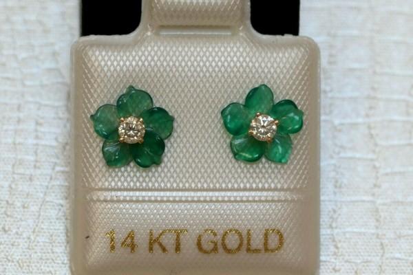 Feinste Brillant - Blüten - Ohrstecker - 0,15 ct. - 14 Kt. Gold - 585 - Ohrringe - TOP