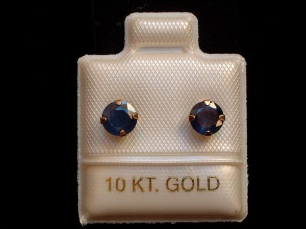 Exclusive Saphir Ohrstecker - 5 mm - 10 Kt. Gold - 417 - Ohrringe - Brillant Schliff