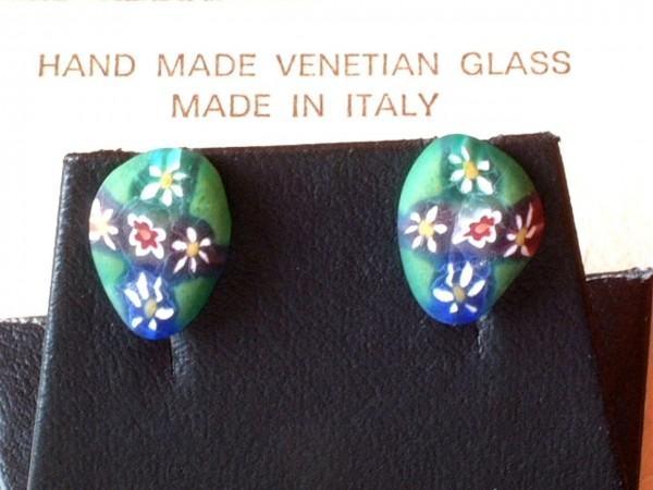 Venezianische Millefiori Ohrstecker - Murano Glas Ohrringe - Biancardi Venezia - Modell BMO8 -