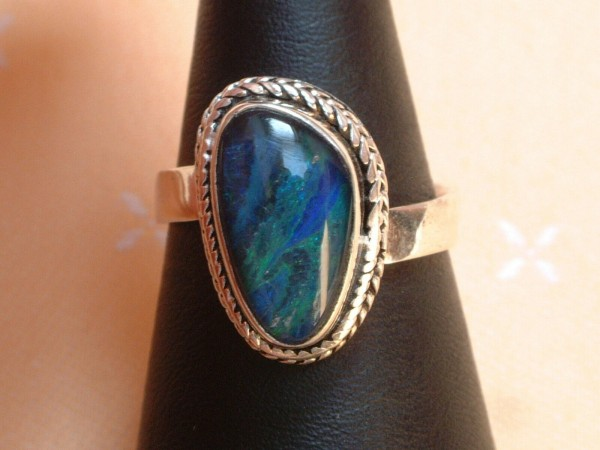Exclusiver Opal Ring 19 x 12 mm - tolle Farben - Sterling Silber 925 - variabel