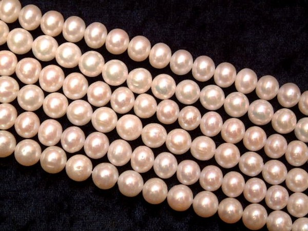 Exclusive Süßwasser Perlen - weiss - 10 mm - 40 cm - Strang - Kette -Fresh Water Pearls