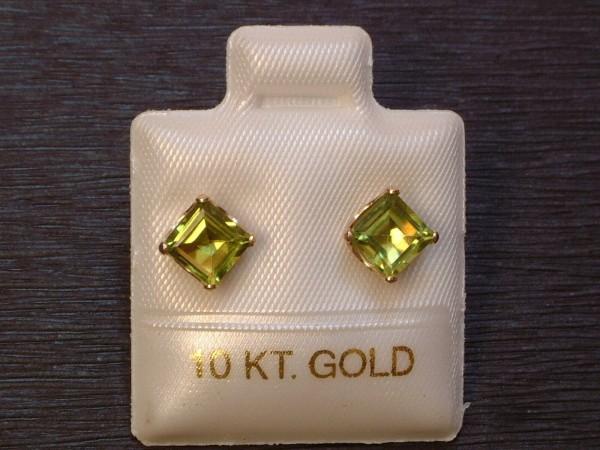 Feinste Peridot Ohrstecker - 1,22 ct. - 10 Kt. Gold -417- Ohrringe - Carré Schliff