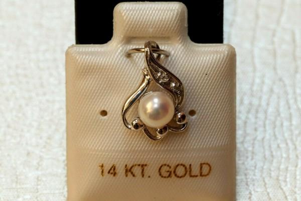 Exclusiver Perlen & Diamant Anhänger - 5,5 mm - weiß - 14 Kt. Weißgold - 585 - TOP