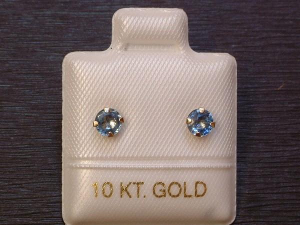 Gold Ohrringe Brillant Schliff 10 Kt 5 mm 417 Feinste Iolith Ohrstecker