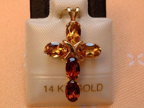 Exclusives Designer Turmalin Kreuz - 2,50 ct. - cognac / braun - 14 Kt. Gold 585 - TOP