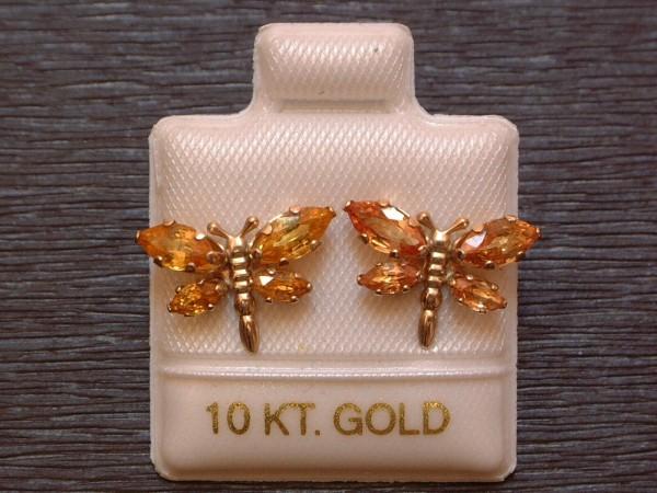Exclusive Schmetterling´s Ohrstecker - orange Saphire - 10 Kt. Gold 417- Navette Schliff