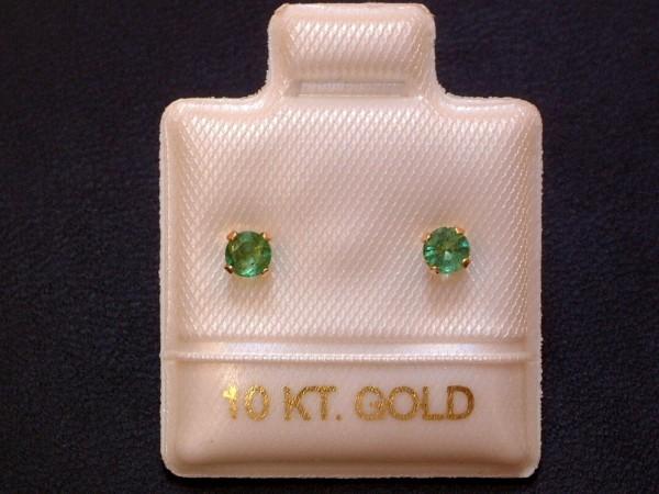 Feinste Smaragd Ohrstecker - 3 mm - 10 Kt. Gold - 417 - Ohrringe - Brillantschliff