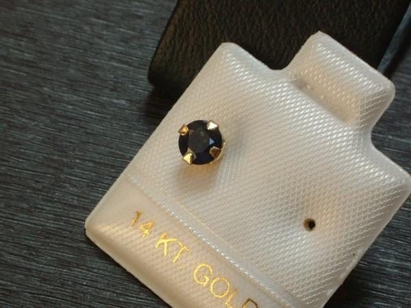 Einzelner Saphir Ohrstecker - 0,60 ct. - 5 mm - 14. Kt Gold - 585 - Brillant Cut