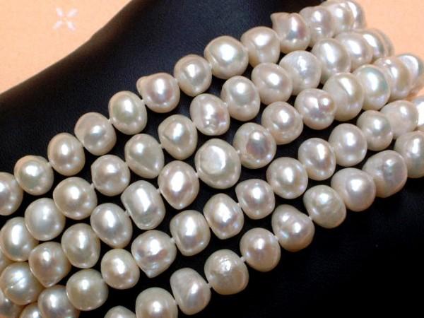 Exclusive Perlen Kette - barock - endlos - 125 cm lang - sensationelles Lüster !