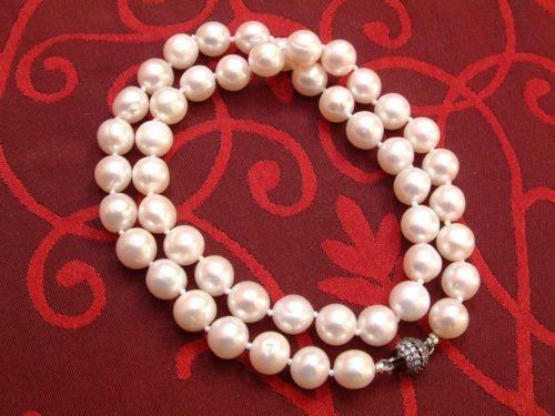 Perlen Kette 9 mm high Lüster geknotet Magnetschließe Süßwasser Zucht 47 cm lang