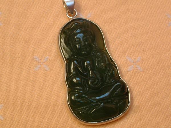 Buddha Shiva Anhänger - Jade - 37 x 22 mm - gefasst in Sterling Silber - 925 -