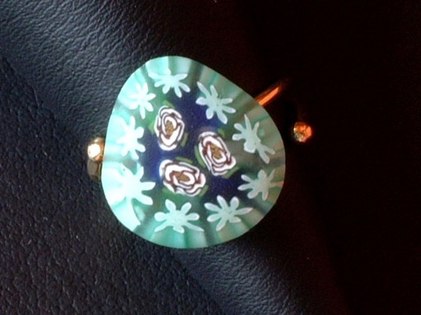 Venezianischer Millefiori Ring - Murano Glas - Sterling Silber 925 vg. - MOD 4 -