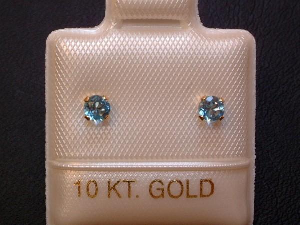 Feinste Blautopas Ohrstecker - 3 mm - 10 Kt. Gold - 417 - Ohrringe - Brillant Schliff