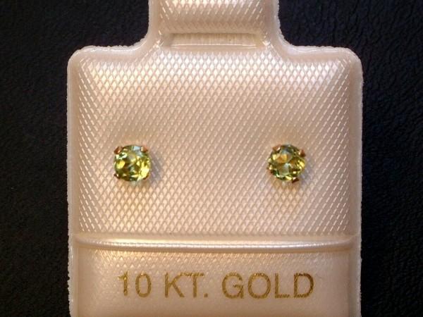 Feinste Peridot Ohrstecker - 3 mm - 10 Kt. Gold - 417 - Ohrringe - Brillantschliff