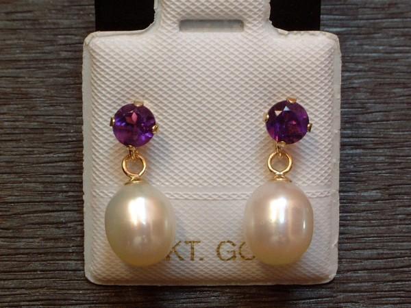 Exclusive Amethyst & Perlen Ohrstecker - 14 Kt. Gold - 585 - Ohrringe - intensive Farbe !