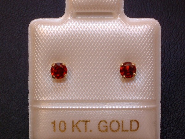 Feinste Granat Ohrstecker - 3 mm - 14 Kt. Gold - 585 - Ohrringe - Brillantschliff