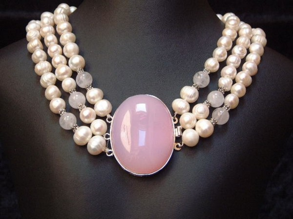 Perlencollier mit feinstem Rosenquarz - 3 Stränge - 45 cm - Perlen - Kette - Collier-