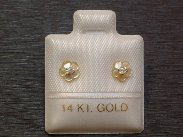 Exclusive Zirkonia & Perlmutt - Blüten - Ohrstecker - 14 Kt. Gold - 585 - EDEL