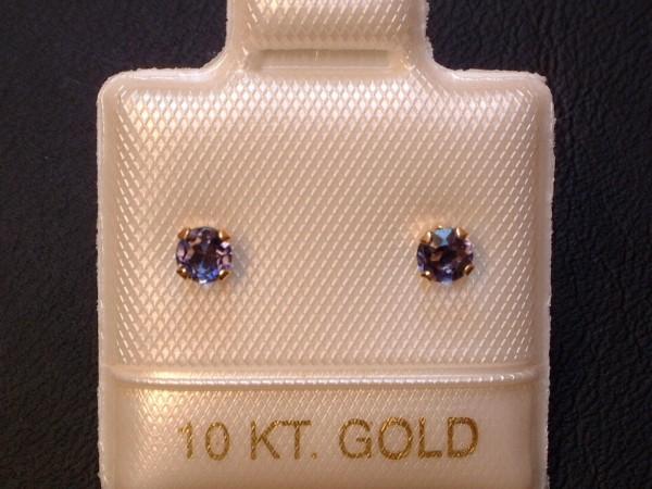 Feinste Iolith Ohrstecker - 3 mm - 10 Kt. Gold - 417 - Ohrringe - Brillantschliff