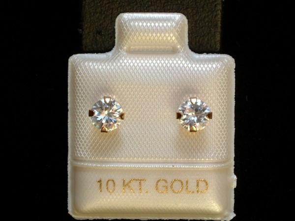 Weiße Zirkon Ohrstecker - natural - 5 mm - 10 Kt. Gold - 417 - Brillant Schliff