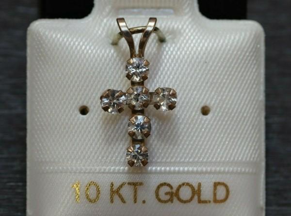 Feinstes weißes Saphir Kreuz - 0,46 ct. - 10 Kt. Gold - 417 - Anhänger - Brillant Schliff