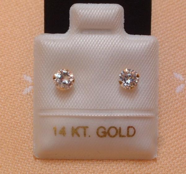 Exclusive Zirkonia Ohrstecker - 4 mm - 14 Kt Gold - 585 - Brillant Schliff - EDEL