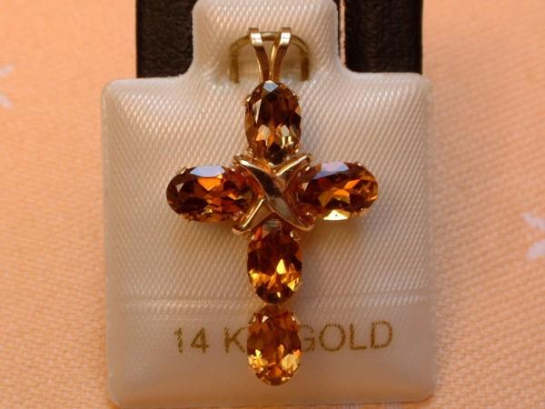 Exclusives Designer Turmalin Kreuz - 2,50 ct. - cognac - 14 Kt. Gold 585 - TOP -