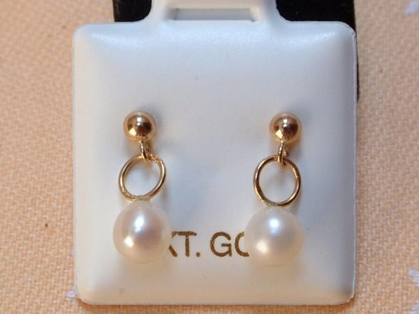 Elegante Perlen Ohrstecker - weiss - 5,5 mm - 10 Kt. Gold - 417 - Ohrringe
