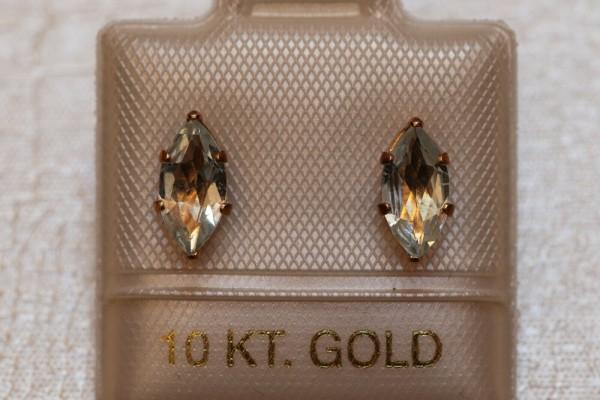 Exclusive Aquamarin Ohrstecker - 0,95 ct. - 10 Kt. Gold - 417 - Navette Schliff