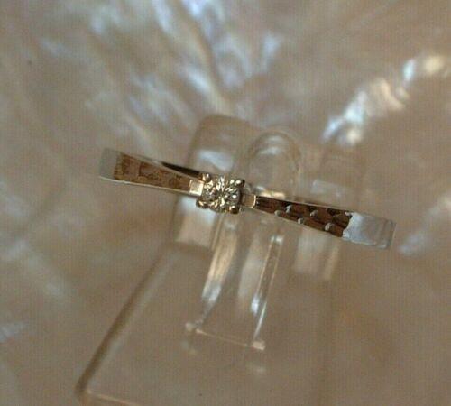 Exclusiver Brillant Ring - Solitär - 0,04 ct. - 14 Kt. Weißgold - 585 - second hand - Gr. 64