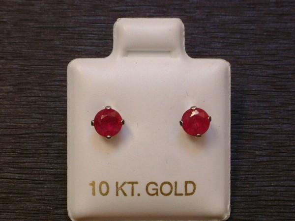 Feinste Rubin Ohrstecker - 1 ct. - 10 Kt. Weißgold 417 - Ohrringe - Brillant Schliff