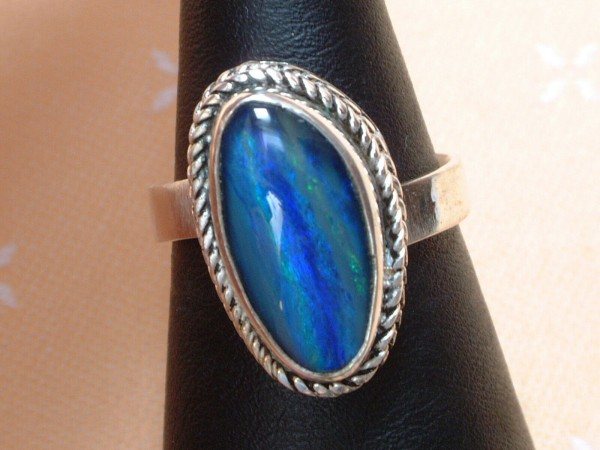 Exclusiver Opal Ring 21 x 13 mm - tolle Farben - Sterling Silber 925 - variabel