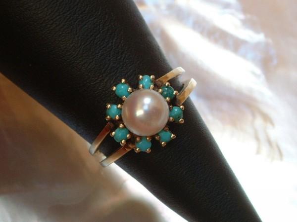 Exclusiver Damen Ring - mit Perle & Türkisen - 14 Kt. Gold - 585 - Grösse 52 - second hand